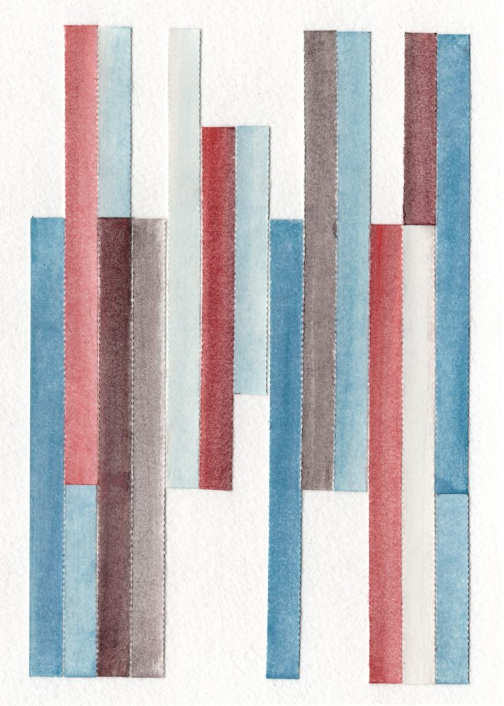 Paper Quilt by Traci Larson with red, blue and brown strips of paper
