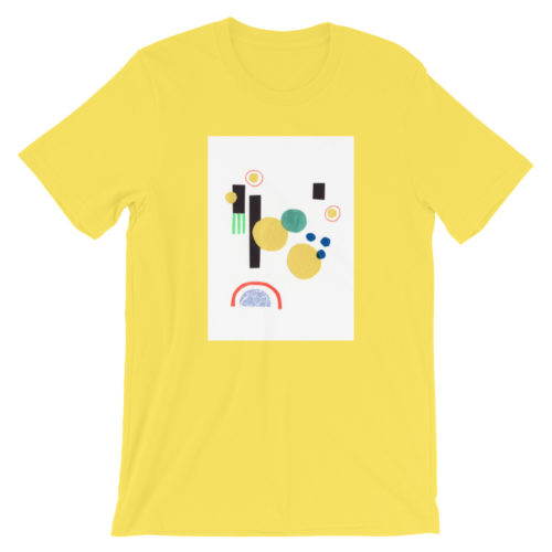 bright butter yellow shirt with a centered white rectangle and an abstract collage