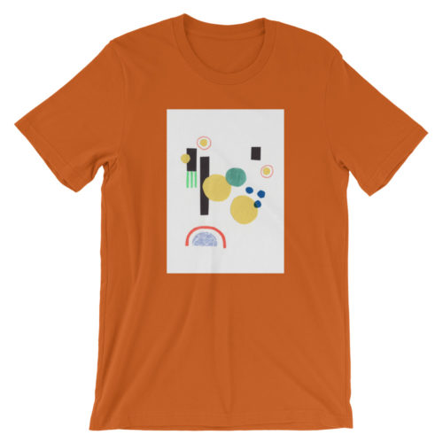 orange t-shirt with a centered white rectangle and an abstract collage