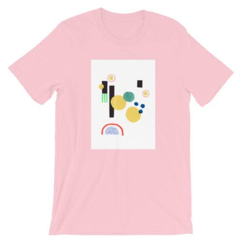 bubble gum pink shirt with a centered white rectangle and an abstract collage